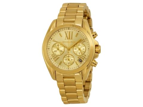 Ceasuri Femei Michael Kors Bradshaw Chronograph Champagne Dial Gold-tone Ladies Watch Champagne