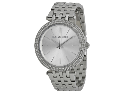 Ceasuri Femei Michael Kors Darci Silver Dial Pave Bezel Ladies Watch Silver