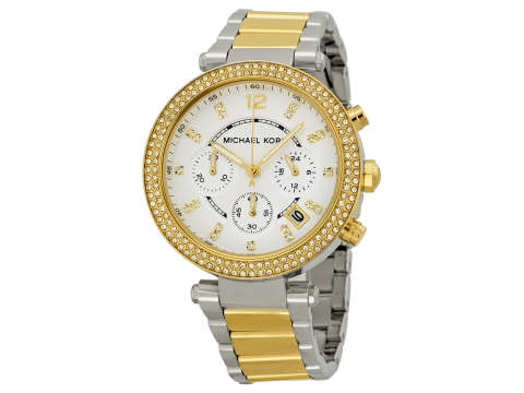 Ceasuri Femei Michael Kors Parker Glitz Silver Dial Two-tone Ladies Watch Silver