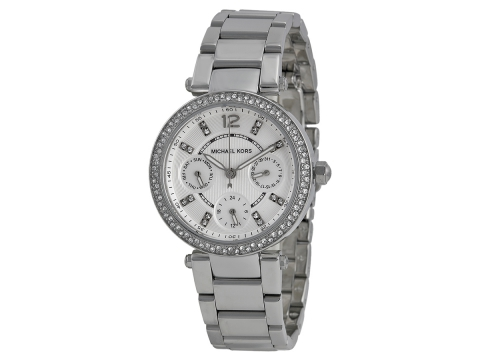 Ceasuri Femei Michael Kors Parker Multi-Function Silver Ladies Watch Silver