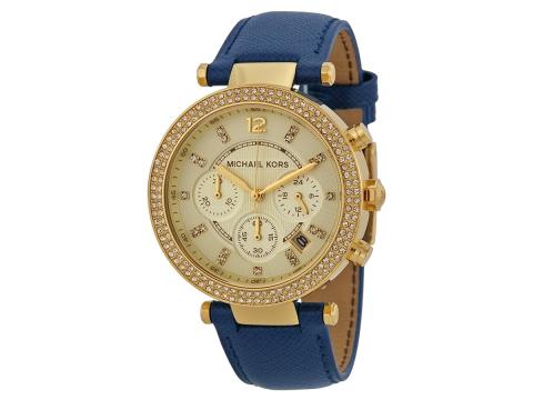 Ceasuri Femei Michael Kors Parker Chronograph Gold-tone Navy Leather Ladies Watch Light Champagne