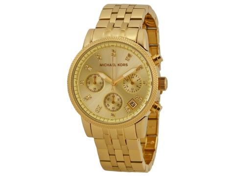Ceasuri Femei Michael Kors Ritz Chronograph Gold-Tone Ladies Watch Champagne