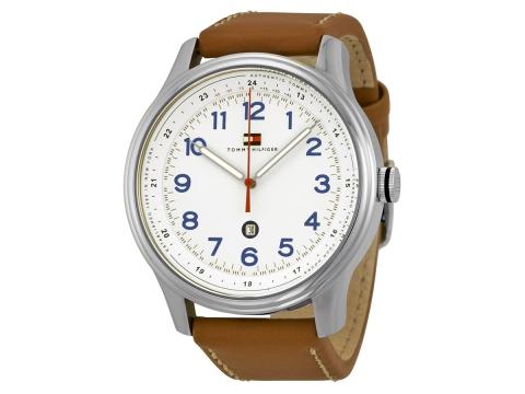 Ceasuri Barbati Tommy Hilfiger White Dial Brown Leather Men's Watch Silver