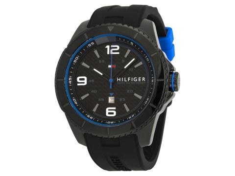 Ceasuri Barbati Tommy Hilfiger Black Dial Black Silicone Strap Men's Watch Silver