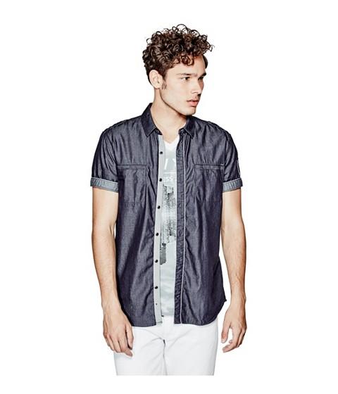 Imbracaminte Barbati GUESS Pike Short-Sleeve Chambray Regular-Fit Shirt brnpk- w