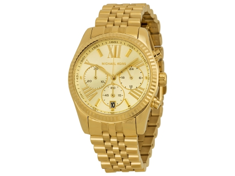Ceasuri Femei Michael Kors Lexington Chronograph Champagne Dial Gold PVD Ladies Watch Champagne