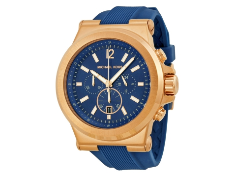 Ceasuri Barbati Michael Kors Dylan Navy Dial Rose Gold-tone Navy Silicone Strap Men's Watch Navy