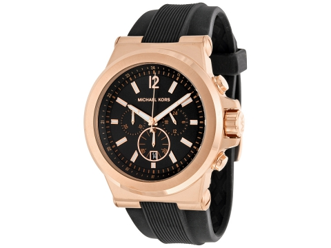 Ceasuri Barbati Michael Kors Dylan Chronograph Black Dial Black Rubber Men's Watch Black