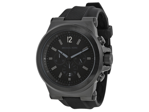 Ceasuri Barbati Michael Kors Dylan Black Silicone Strap Men's Watch Black