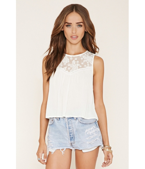 Imbracaminte Femei Forever21 Crinkled Lace-Paneled Top Cream