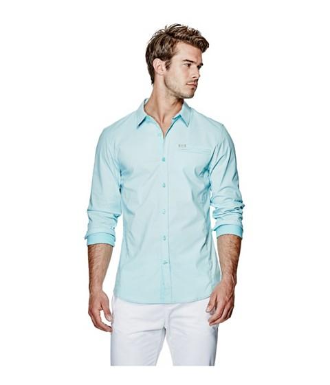 Imbracaminte Barbati GUESS Cowan Poplin Long-Sleeve Shirt rinse wlemon