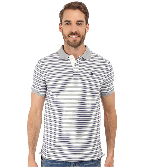 Imbracaminte Barbati US Polo Assn Slim Fit Micro Shadow Stripe Polo Shirt Heather Grey