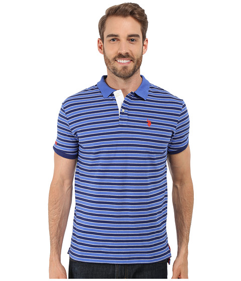 Imbracaminte Barbati US Polo Assn Slim Fit Micro Shadow Stripe Polo Shirt Marina Blue