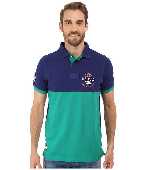Imbracaminte Barbati US Polo Assn Color Blocked Embellished Pique Polo Shirt Dodger Blue