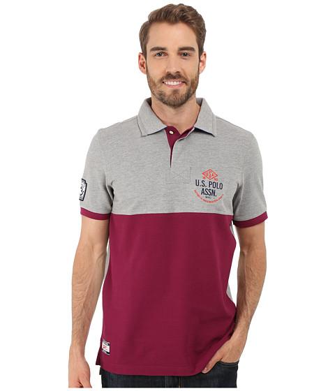 Imbracaminte Barbati US Polo Assn Color Blocked Embellished Pique Polo Shirt Heather Grey