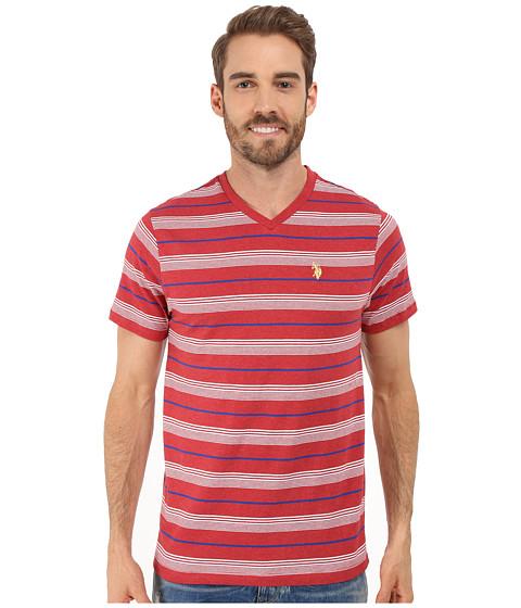Imbracaminte Barbati US Polo Assn Multicolor Shadow Striped V-Neck T-Shirt Red Heather