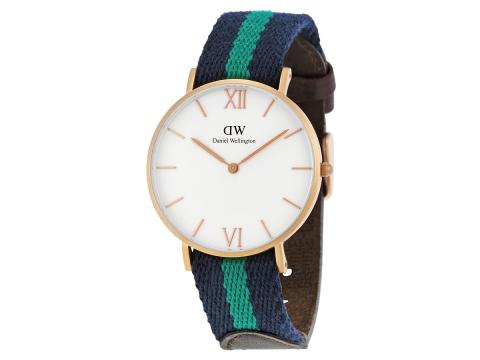 Ceasuri Barbati Daniel Wellington Grace Warwick White Dial Blue and Green Nylon Unisex Watch White