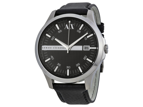 Ceasuri Barbati Armani Exchange Armani AX Exchange Whitman Black Dial Black Leather Men's Watch Black