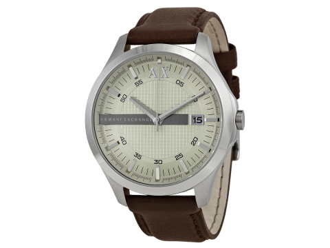 Ceasuri Barbati Armani Exchange Armani AX Exchange Whitman Silver Dial Brown Leather Men's Watch Silver