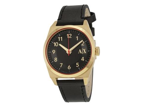 Ceasuri Barbati Armani Exchange Black Dial Black Leather Strap Men's Watch Black
