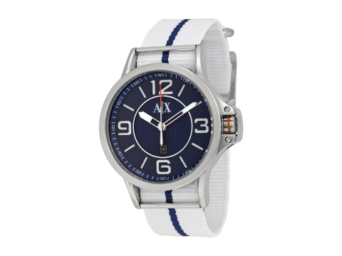 Ceasuri Barbati Armani Exchange Blue Dial White and Blue Fabric Strap Men's Watch Blue