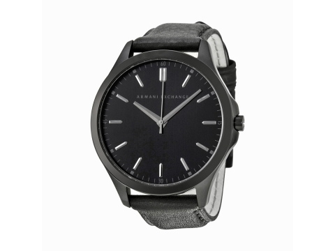 Ceasuri Barbati Armani Exchange Black Dial Black Leather Strap Men's Watch Black