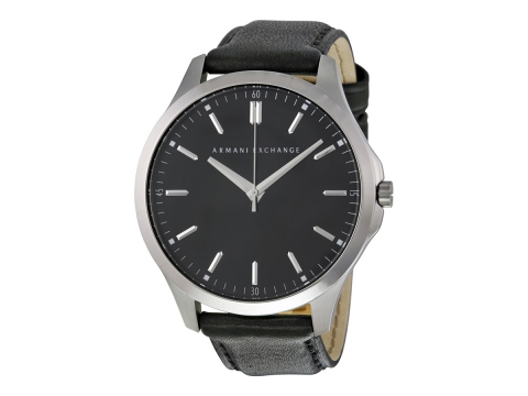 Ceasuri Barbati Armani Exchange Hampton Black Dial Black Leather Men's Watch Black