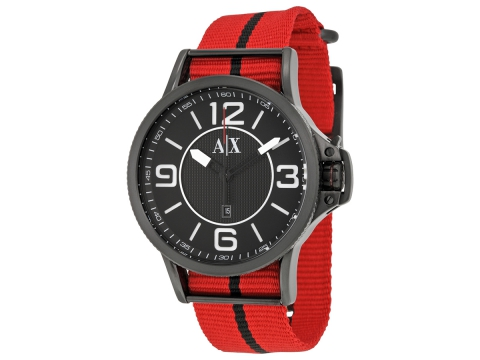 Ceasuri Barbati Armani Exchange Black Dial Red and Black Canvas Strap Men's Watch Black
