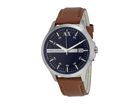 Ceasuri Barbati Armani Exchange Navy Dial Brown Leather Strap Men's Watch Navy