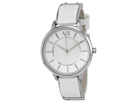 Ceasuri Femei Armani Exchange White Dial White Leather Ladies Watch White