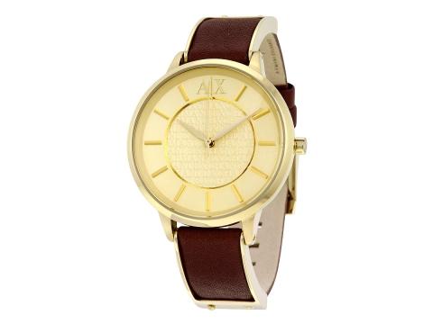 Ceasuri Femei Armani Exchange Olivia Gold Dial Brown Leather Ladies Watch Gold