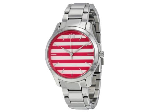 Ceasuri Femei Armani Exchange Pink and White Striped Dial Ladies Watch Pink and White Striped