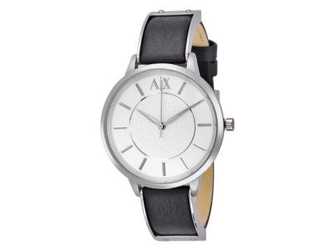 Ceasuri Femei Armani Exchange Olivia Silver Dial Black Leather Ladies Watch Silver