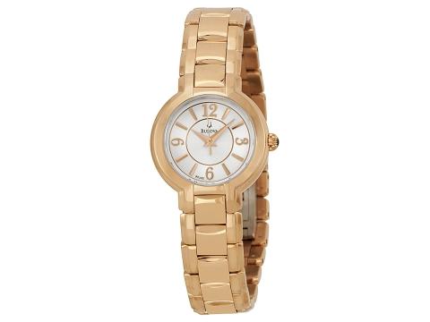 Ceasuri Femei Bulova White Dial Gold-Tone Stainless Steel Ladies Watch White