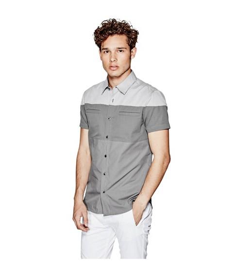 Imbracaminte Barbati GUESS Handel Short-Sleeve Poplin Shirt grey steel