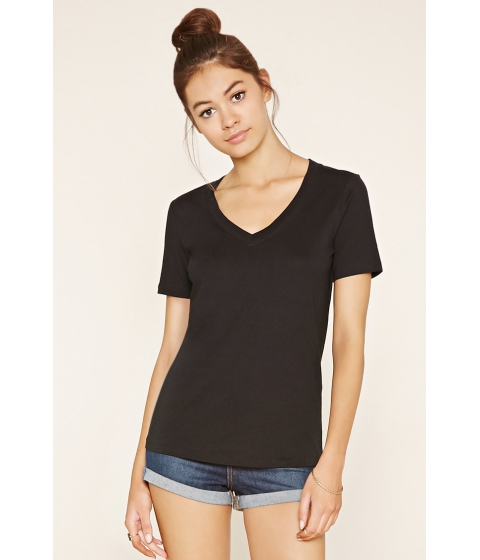 Imbracaminte Femei Forever21 Cotton-Blend V-Neck Tee Black