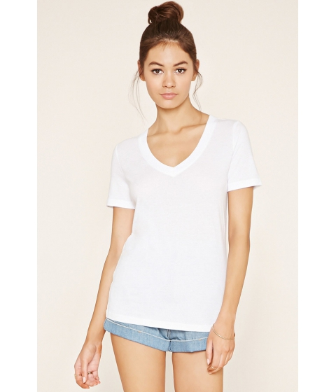 Imbracaminte Femei Forever21 Cotton-Blend V-Neck Tee White
