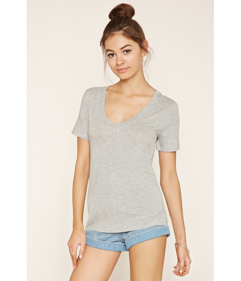 Imbracaminte Femei Forever21 Cotton-Blend V-Neck Tee Heather grey