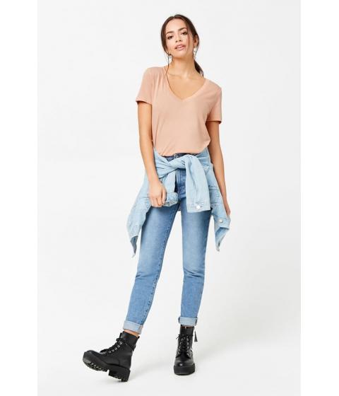 Imbracaminte Femei Forever21 Cotton-Blend V-Neck Tee APRICOT