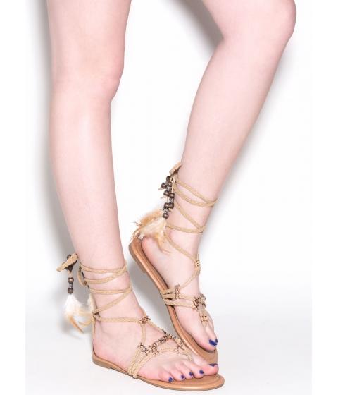 Incaltaminte Femei CheapChic Desert Travel Boho Lace-up Sandals Beige