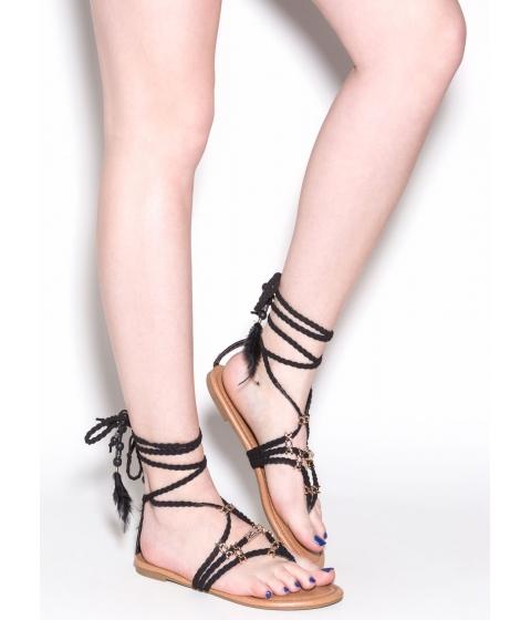 Incaltaminte Femei CheapChic Desert Travel Boho Lace-up Sandals Black