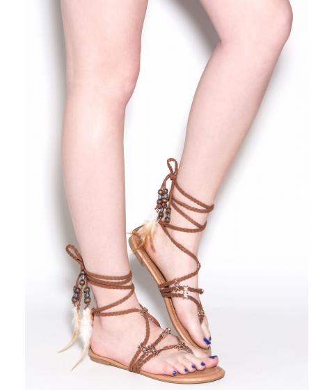 Incaltaminte Femei CheapChic Desert Travel Boho Lace-up Sandals Brown