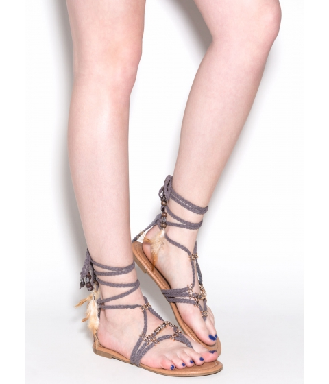 Incaltaminte Femei CheapChic Desert Travel Boho Lace-up Sandals Grey
