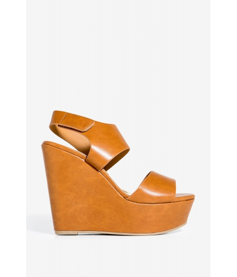 Incaltaminte Femei CheapChic Saphire-s Twist Of Fate Wedge Cognac