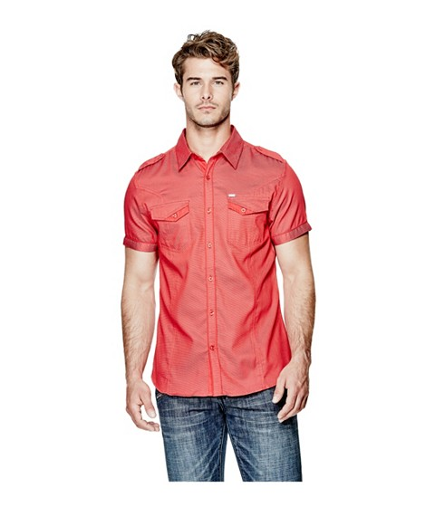 Imbracaminte Barbati GUESS Napalm Dobby-Weave Slim-Fit Shirt red hot