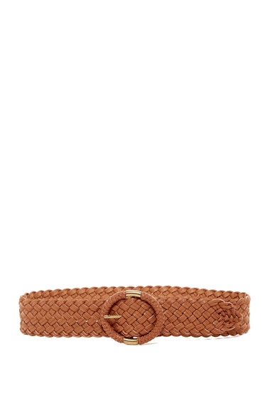 Accesorii Femei Steve Madden Leather Wide Braided Semi Wrap Belt COGNAC