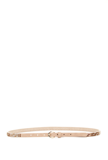 Accesorii Femei Steve Madden Leather Beaded Skinny Belt TAN MULTI