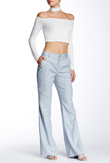 Imbracaminte Femei Level 99 Tanya Linen Blend Trouser Sky