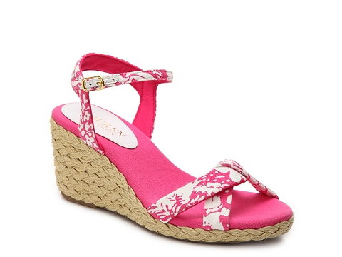 Incaltaminte Femei LAUREN Ralph Lauren Callia Wedge Sandal PinkWhite Floral
