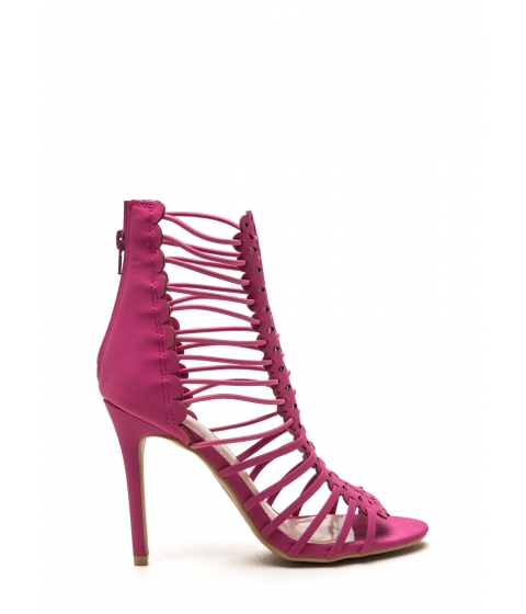 Incaltaminte Femei CheapChic Burning Up Strappy Laser-cut Heels Fuchsia